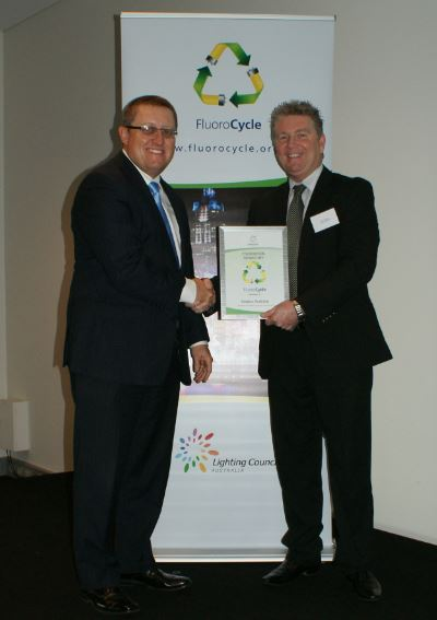 David Tilbury, MD of Intralux Australia accepting the Fluorocycle Recognition Certificate in Brisbane on 1st September 2014